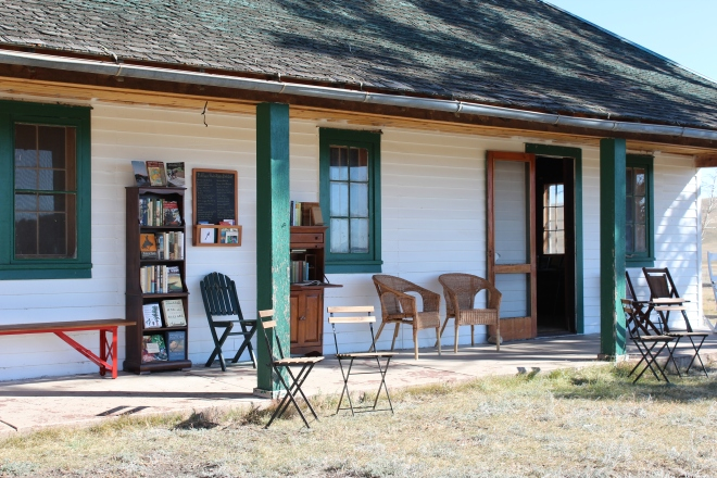 With every public tour we set up a small porch library at the Main House. There's nothing like handling a real book!