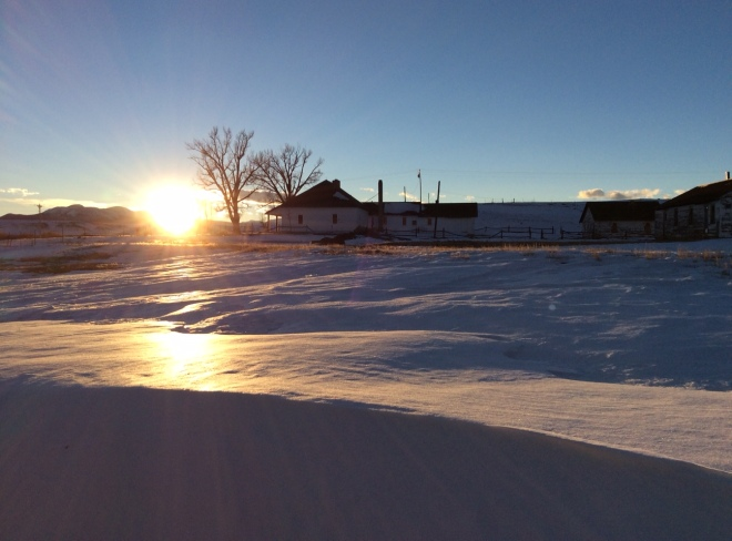 Sun setting over Buffalo Peaks, January 2015. All that's missing is the warm glow of light through the windows, and the smell of soup and freshly-baked bread on the wind!