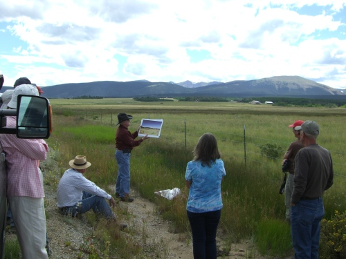 Vince pointing out a truly impressive lateral moraine -- evidence of South Park's extensive glacial history.