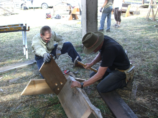 Bob Dragonfly & Charlie Lavender reshaping old timbers into something new.
