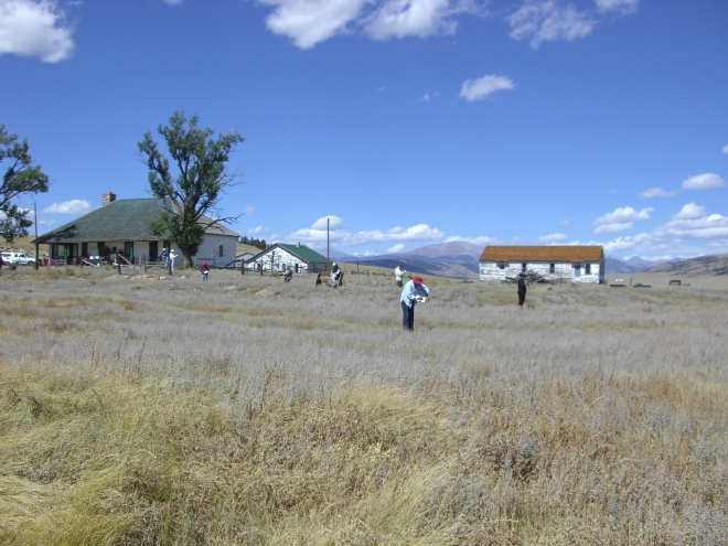The artist's spread across the ranch, sketching as they go....